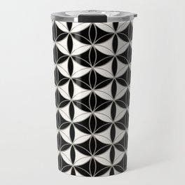 Fan Pattern Black-White Travel Mug