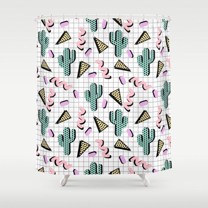 Sweetness - memphis retro grid cactus pastel neon 80s style ...