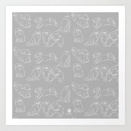 Nordic Chic White Tibbies on Light Grey Minimalist Outline Pattern Art Print