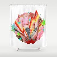 boys Shower Curtains featuring Art Boys by Sissydude