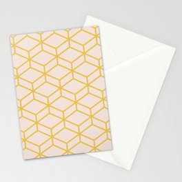 Geometric Honeycomb Lattice in Mustard Yellow and Pale Blush Pink. Modern Clean Minimalist Stationery Cards
