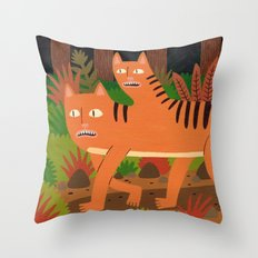 Two-headed Cat Throw Pillow
