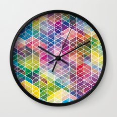 Cuben Curved #6 Geometric Art Print. Wall Clock