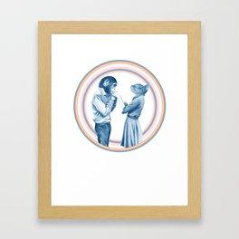 MENAGERIE KISSING CHIMP AND KIT Framed Art Print