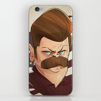 swanson iPhone & iPod Skins featuring Ron Swanson by nachodraws