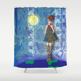 Girl on Top of the World with Starry Eyes Shower Curtain