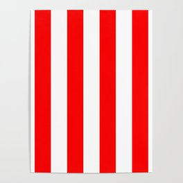Australian Flag Red and White Wide Vertical Beach Stripe Poster