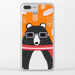 Bear in floral rain Clear iPhone Case