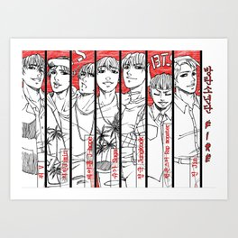 BTS - red, black & white Art Print