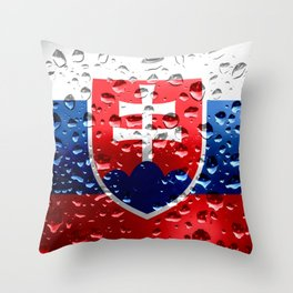 Flag of Slovakia - Raindrops Throw Pillow