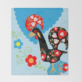Portuguese Rooster of Luck with blue dots Throw Blanket