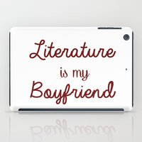literature iPad Cases featuring literature is my boyfriend red by Beautiful Bibliophile's Boutique