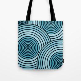 Sea-Blue Circle Pattern Tote Bag