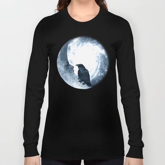 The crow and its Moon. (bcn art version) Long Sleeve T-shirt