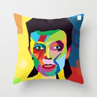 david bowie Throw Pillows featuring bowie by mark ashkenazi