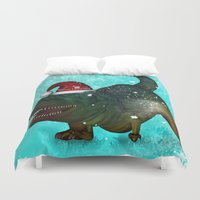 t rex Duvet Covers featuring T-rex, merry christmas by nicky2342