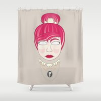 lucy Shower Curtains featuring lucy by Lenny and friends
