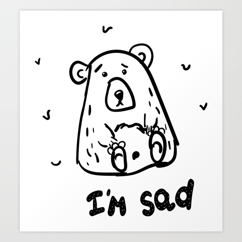 Art print. Scribble grumpy bear i