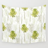 green pattern Wall Tapestries featuring Green pattern  by LOLIA-LOVA