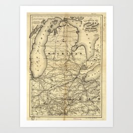 Vintage Michigan, Ohio and Indiana Railroad Map Art Print