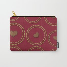 Burgundy & Copper Heart Pattern Carry-All Pouch
