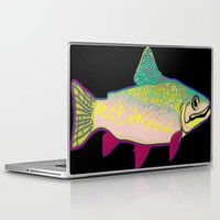 trout Laptop & iPad Skins featuring Neon Rainbow Trout by Florian Rodarte