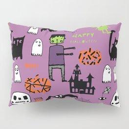 Cute Frankenstein and friends purple #halloween Pillow Sham