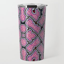 Song of Bringing Things Together - Traditional Shipibo Art - Indigenous Ayahuasca Patterns Travel Mug