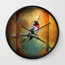 Rose-breasted Grosbeak ~ Ginkelmier Inspired Wall Clock