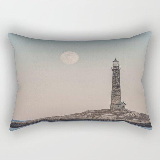Pink moon rising over Thacher Island Rectangular Pillow