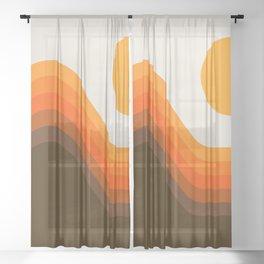 Golden Horizon Diptych - Left Side Sheer Curtain