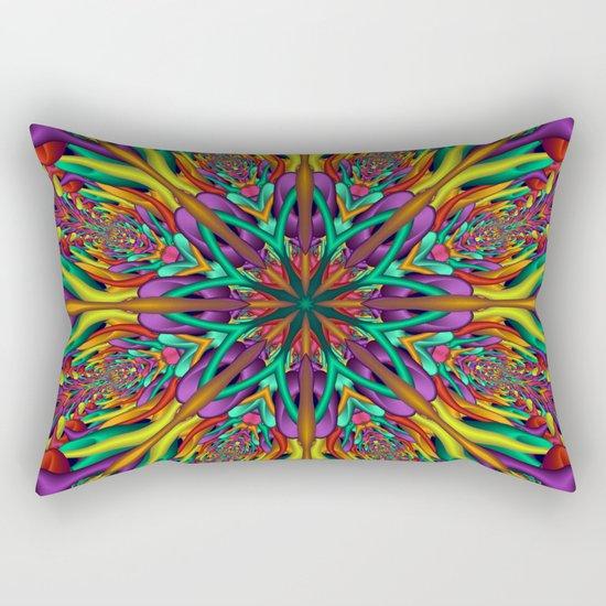 Crazy colors 3D mandala Rectangular Pillow