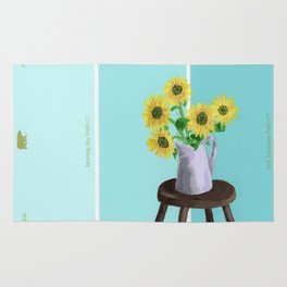 Sunflowers on Blues Rug