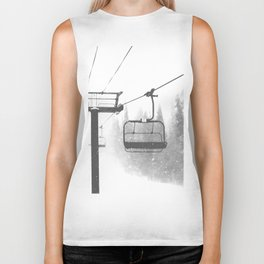 Chairlift Abyss // Black and White Chair Lift Ride to the Top Colorado Mountain Artwork Biker Tank