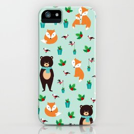 Christmas pattern with bears, foxes and birds #society6 #homedecor iPhone Case