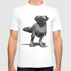 Pugussaurus Rex White Mens Fitted Tee SMALL