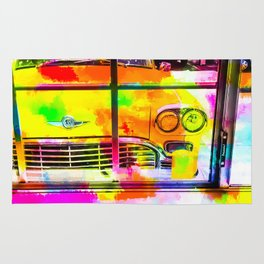 yellow classic taxi car with colorful painting abstract in pink orange green Rug