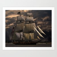 sailing Art Prints featuring Sailing by Kristiana Art Prints