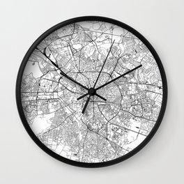 Bucharest White Map Wall Clock