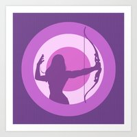 kate bishop Art Prints featuring Kate Bishop: Young Avenger by semisweetshadow