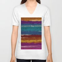 knit V-neck T-shirts featuring Knit stripes by Selkiesong