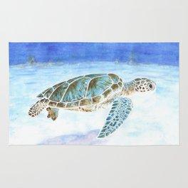 Sea turtle underwater Rug