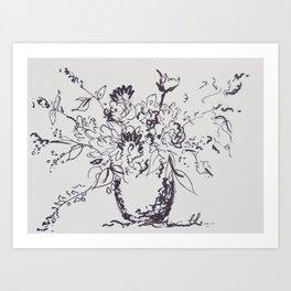 Fleurs à l'encre III Art Print