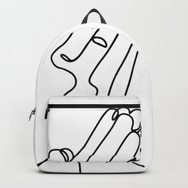 Hands Palms Together Praying, Praying Hands, One Line Art, One Line Drawing, Minimal Hands Art Print Backpack