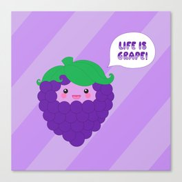 Life is Grape! (striped) Canvas Print