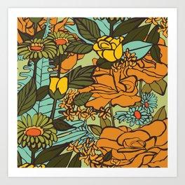 retro garden Art Print