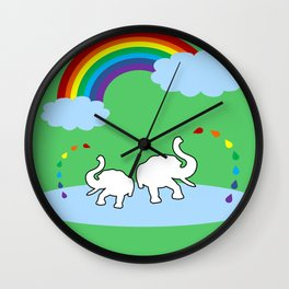 Mom And Baby Elephants Wall Clock