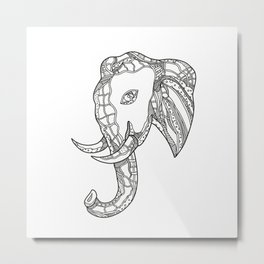 Bull  Elephant Head Doodle Art Metal Print