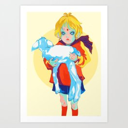 Little Prince and his sheep Art Print
