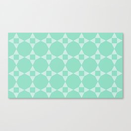 Mint Triangle Star pattern with white stripes Canvas Print